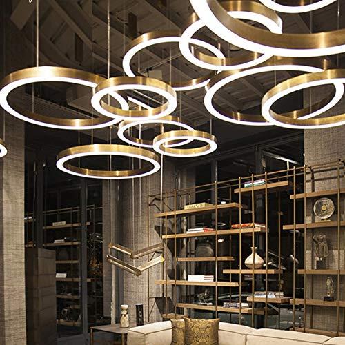 BINGFANG-W La combinación de lujo con forma de Ronda LED Lámparas Compatible with Office Hotel Vestíbulo Restaurante Salón Club de Inicio Cuerpo de iluminación Moderno (Lampshade Color : Rose Gold)