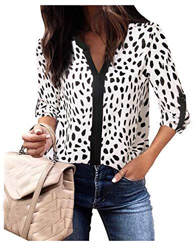 Langarmblusen Damen Herbst Tunika Oberteile Home Wear Henley V-Ausschnitt Manschettenärmel Kontrastfarbe Leopard Shirts für Jeans Weiß Leopard, XX-Large