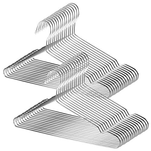 TUXWANG 18/10 Perchas de Acero Inoxidable 30 Piezas un Conjunto Perchas de Alambre Metálico de Acero Inoxidable Resistentes. Perchas Metalicas, Prendas de Cocina, Perchas para Ropa