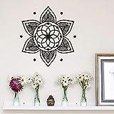 Mandala Flor Patrón Etiqueta de la pared Yoga Studio Decoración Estilo de Buda Etiqueta de la pared Removible Yoga Religioso Cartel de la pared A3 52x57cm