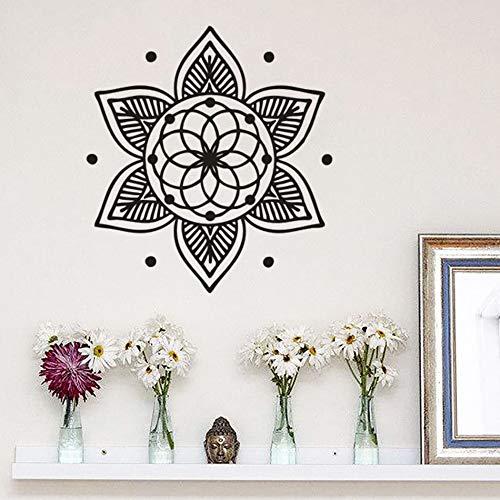 Mandala Flor Patrón Etiqueta de La Pared Estudio de Yoga Decoración Estilo de Buda Etiqueta de La Pared Extraíble Yoga Religioso Cartel de Pared A7 39x42cm