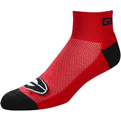 For Bare Feet NCAA Men's Cuff Team Logo Quarter-Length Socks-Georgia Bulldogs-Large(10-13)