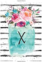 Cute Flowers Monogram Letter X Notebook: Cute Monogram Letter X Lined Journal With Flowers Cover Notebook 120 Pages Soft And Matte Cover 6x9 Inch