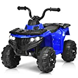 Costzon Ride on ATV, 6V Battery Powered Kids Electric Vehicle, 4 Wheeler Quad w/Headlights, MP3, USB, Volume Control, Large Seat, Electric Ride on Toys for Boys& Girls (Blue)