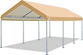 ADVANCE OUTDOOR 10 x 20 FT Heavy Duty Carport Car Canopy Garage Shelter Party Tent, Adjustable Height from 6ft to 7.5ft, Beige