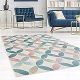 carpet city Teppich Flachflor Inspiration mit Geometrischen Muster, Marokkanischer-Stil mit Pastellfarben, Blau, Rosa, Creme, Beige für Wohnzimmer, Größe: 120x170 cm