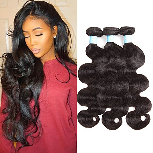 BLY Hair 8A Brazilian Virgin Human Hair Body Wave 12 14 16inch 3 Bundles Weave 100% Unprocessed Human Hair Wavy Extensions Weft Natural Black 300g Total