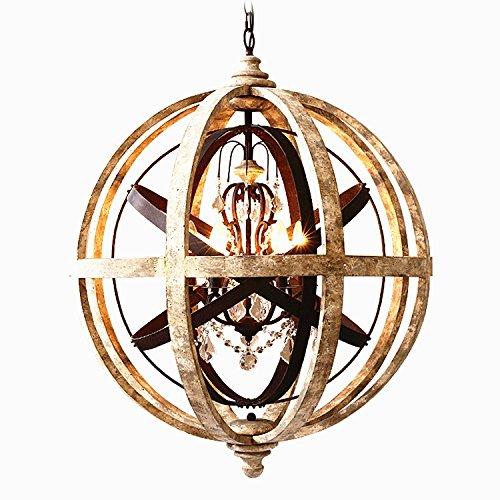 KunMai Rustic Weathered Wooden Metal Crystal 5-Light Orb Chandelier Hanging Globe Pendant Ceiling Light Fixture