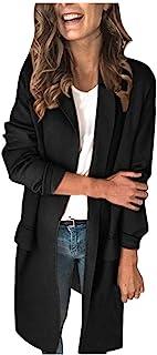 LianMengMVP Blazer Mujer Chaqueta Oficina Negocio Boda Abrigos para Mujeres Otoño Invierno Color Liso Manga Larga Falso Bo...