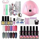 Poly Nagel Gel Kit , UV/LED Nail Art Fototerapia Esmalte de uñas Gel Nail Manicure Set 33 Piezas, Adecuado para Principiantes