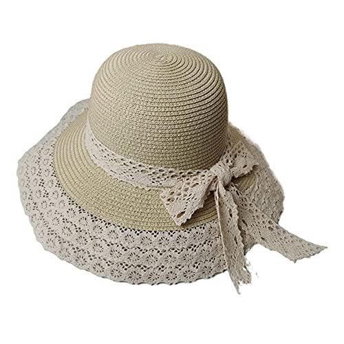 Linckry Sombrero de paja plegable para mujer, encaje de verano, lavabo transpirable, protector solar de ala grande, sombrilla de viaje para la playa, sombrero pequeño y fresco con nudo de lazo para mu