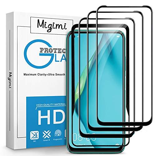 Migimi Panzerglas für Huawei P40 Lite Schutzfolie, [3 Stück] 3D Panzerglasfolie 9H Festigkeit [mit Positionierhilfe], Anti-Kratzen, Anti-Bläschen, Gehärtetem Glas HD Bildschirmschutz Folie für Huawei P40 Lite