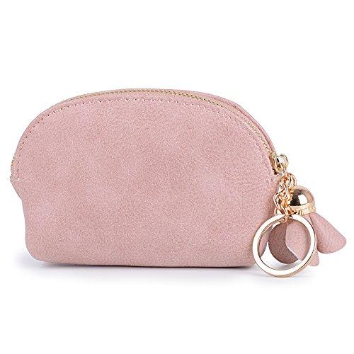 Portamonete Mini Donna Ragazza Portafoglio Piccolo Carino con Cerniera Fiori Rosa Portachiavi Sacchetto Regalo 11 * 8 * 3 cm