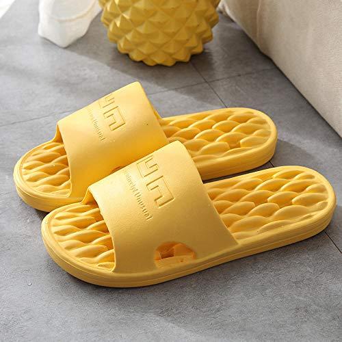 HUSHUI Bañarse Sandalias Zapatillas para Mujer,Sandalias Antideslizantes de Interior, Zapatillas de baño para el hogar-Amarillo_40-41,Zapatos de Playa y Piscina para
