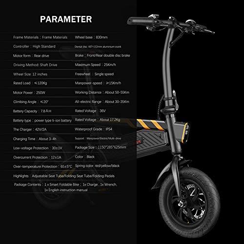 FJNS Bicicleta Electrica Plegable 7,8 AH Scooter eléctrico de 16 Pulgadas con...