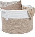HOMECLASS6 XXL Blanket Basket Living Room - 20 x 20 x 13.3 inch Cotton Rope Basket. Woven Storage Basket for Throws, Toys, Blankets, and Pillows. Laundry Basket with Handles. Lt Brown Mix