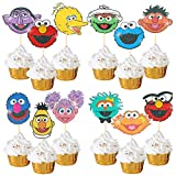 24Pcs Sesame Street Cupcake Topper Happy Birthday Party Favor Supplies for Kids Birthday Gold Glitter Sesame Street Cupcake Topper Elmo Big Bird Monster Oscar Ernie Inspired Party
