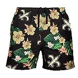 FOCO Mens Team Logo Floral Hawaiian Swimsuit Trunks, Color, XL (34'-36'), New Orleans Saints, Team Color