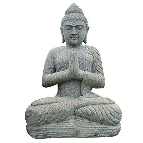 Der Schwarze Mann Steinfigur Buddha sitzend 100cm betend Buddhafigur Gartenfigur Basanit Feng Shui
