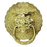 Brass Lion Face Door Knocker,acabado Antiguo Look Vintage Accesorios Para Puertas Mano-elaborado Manija De Puerta Aldaba De Puerta Para Todas Las Puertas-b 12x13cm(5x5inch)