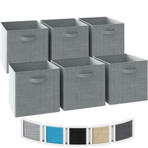 NEATERIZE 13x13x13 Large Storage Cubes - Set of 6 Storage Bins | Features Dual Handles | Cube Storage Bins | Foldable Closet Organizers and Storage | Fabric Storage Box for Home and Office (Grey)