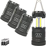 Gold Armour LED Camping Lantern, Battery Powered LED Lanterns, 500 Lumens, Survival Kits for Power Outages, Hurricane, Emergency, Portable Lights Gear, Alkaline Batteries Included (4Pack Gray)