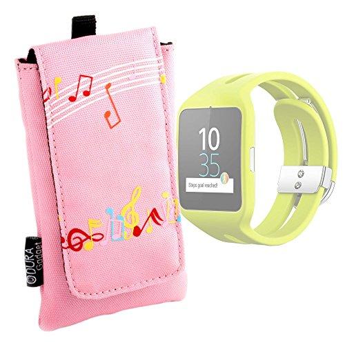 DURAGADGET Funda Acolchada Rosa para Reloj Sony Smartwatch 3 Sport | Garmin Forerunner 230 - con Motivo De Notas Musicales - ¡Impermeable!