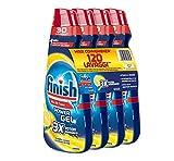 Finish Powergel - Gel detergente para lavavajillas líquido, multiacción, potencia desengrasante, limón, 120 lavados, 4 paquetes de 30 lavados