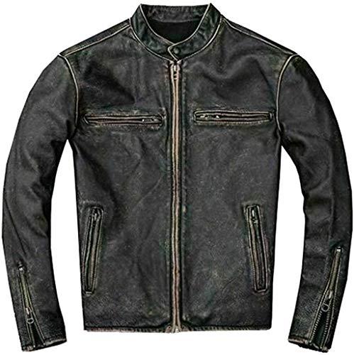 Mens Motorcycle Biker Vintage Distressed Black Faded Leather Jacket (Medium)