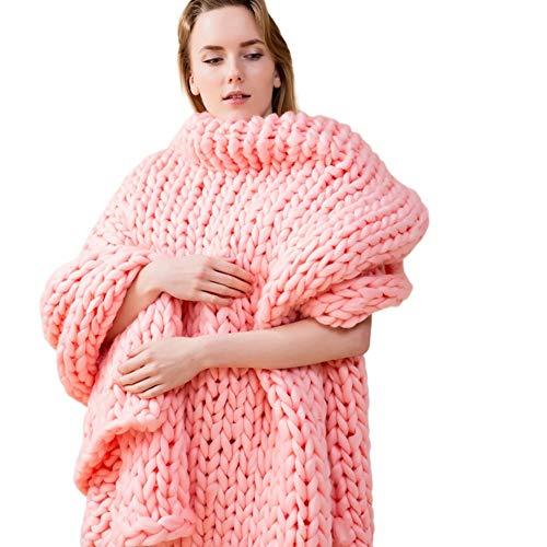 XYSQ Lujo Manta De Punto Gruesa Sofá De Punto Grueso Alfombra De Estera De Yoga, Manual Hecho A Mano Tejido De Accesorios De Fotografía Mantas,80x100cm Supersuave (Color : Pink)