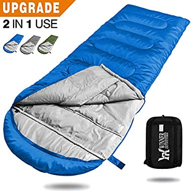 WINNER OUTFITTERS Camping Sleeping Bag, Portable Lightweight Rectangle/Mummy Backpacking Sleeping Bag Compression Sack, 4 Season Sleeping Bags Adults & Kids Camping Travel Summer Outdoor