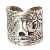 NOVICA .925 Sterling Silver Fair Trade Animal Theme Wrap Ring, Thai Forest Elephant'