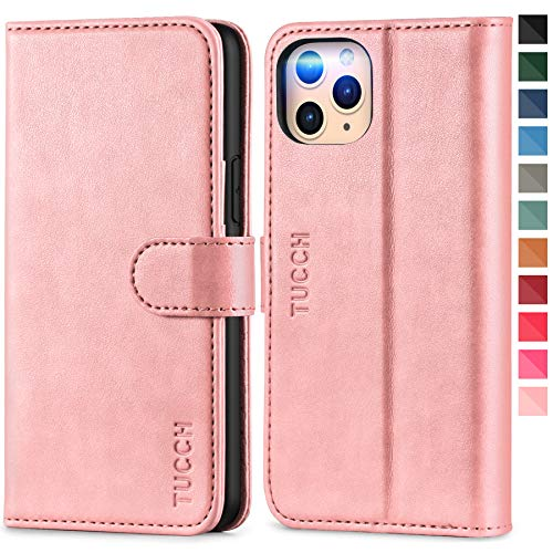 TUCCH iPhone 11 Pro Hülle, iPhone 11 Pro Lederhülle, TPU Handyhülle [RFID Blocker] [Aufstellfunktion] [Kartenfach] [Magnetverschluss], Stoßfeste Etui für iPhone 11 Pro (5,8 Zoll) Rosagold