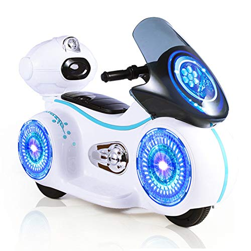 Ywindl Kids Ride on Motorcycle, Electric Car Vehicle Toys for 3-5 6-8 Year Old Boys Girls, 6v Battery Charger Rechargeable Motor Bikes with Headlights and Music (White)