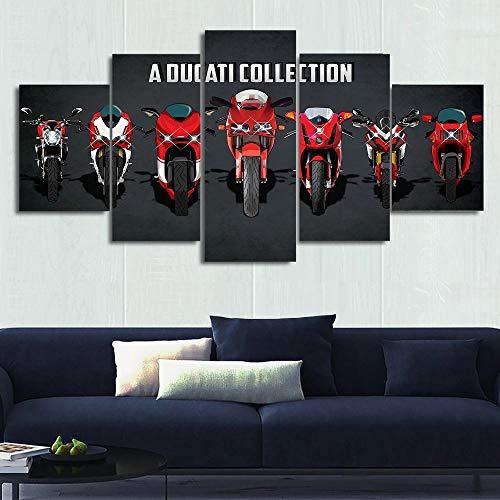 13Tdfc Cuadro En Lienzo, Imagen Impresión, Pintura Decoración, Cuadro Moderno En Lienzo 5 Piezas XXL, 150X80 Cm,Ducati Collection (Ver.2) Coche Murales Pared Hogar Decor