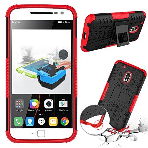 Qiaogle Teléfono Case - Shock Proof TPU + PC Hibrida Stents Carcasa Cover para Motorola Moto G4 / Motorola Moto G4 Plus (5.5 Pulgadas) - HH10 / Negro & Rojo