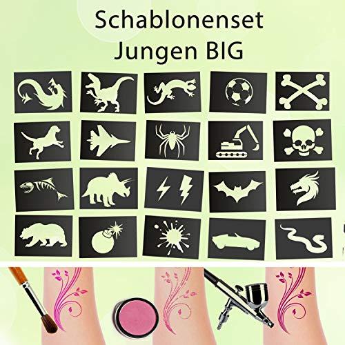 Tattoo Schablonen Set Junge BIG Kinder 20 Stück Selbstklebend Kinderschminken Airbrush