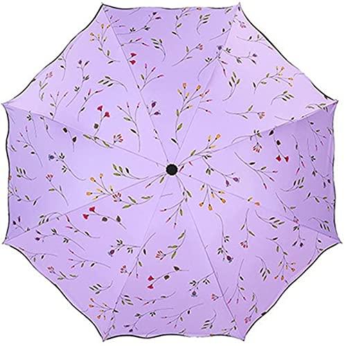 ASKI Sombrillas para Mujer Parasoles de Verano Parasoles de Verano Parasoles de Mujer Lightweight a Prueba de Viento Otoño Tres Veces 8 Veces parasos de Huesos, Purple