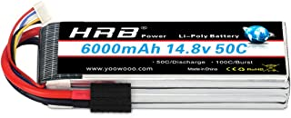 HRB 4S Lipo Battery 14.8V 6000mAh 50C with Traxxas Plug for RC Helicopter RC Airplane RC Car RC Truck RC Boat Remote Control Traxxas Xmaxx