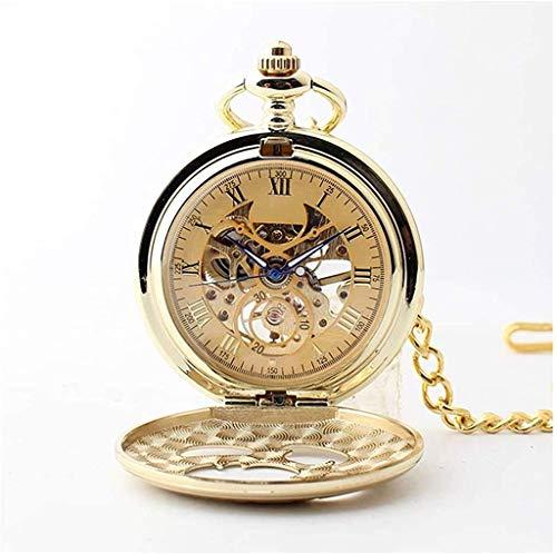 HCFSUK Reloj de Bolsillo con Estilo clásico.Reloj de Bolsillo para Hombre, Boquilla Vintage, Cadena, Máquina de Cuerda Manual, como Regalo para el Día del Padre/Día de San Valentín/Aniversario