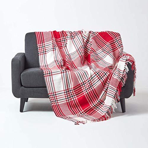 Homescapes Tagesdecke mit Tartan-Muster, Sofa- & Sessel-Überwurf 150 x 200 cm mit Fransen, weiche Wohndecke aus 100prozent Baumwolle, Schottenmuster, rot-weiß kariert