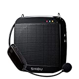Wireless Voice Amplifier,SHIDU Wireless Voice Amplifier UHF 18W Portable Rechargeable PA System Loudspeaker with Wireless Microphone Headset for Teachers,Singing,Fitness Instructors,Yoga,Tour Guides