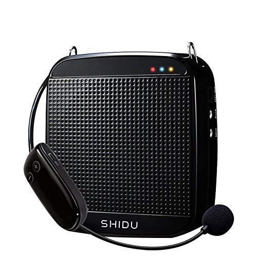 Amplificador de voz inalámbrico, SHIDU Amplificador de voz inalámbrico UHF 18W Altavoz portátil recargable con sistema de megafonía con micrófono inalámbrico Auriculares para profesores, canto