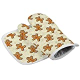 Christmas Gingerbread Man Oven Mitts and Pot Holders Sets, Heat Resistant Oven Glove, Kitchen Microwave Gloves for Kitchen, Cooking, Baking, BBQ