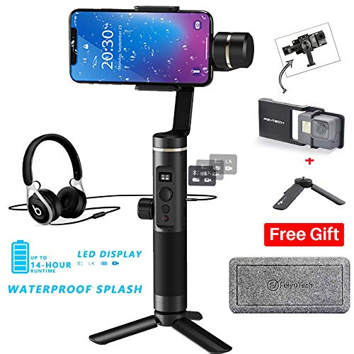 Feiyutech SPG 2 assi palmare Gimbal stabilizzatore fornisce interfaccia audio expansion, schizzi, 300g carico utile per smartphone iPhone XS x 8 7 Galaxy S9 + GoPro 6 5, include adattatore