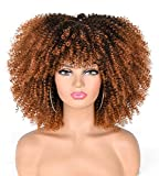 ANNIVIA 14inch Afro Kinky Curly Wig with Bangs for Black Women Ombre Brown1B/30 No Glue Full and Fluffy like a Bomb Short Curly Hair Wigs