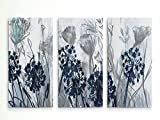 Renditions Gallery-Canvas Print Wall Art-Indigo Field-Gallery Wrapped-Abstract-Modern-Home Décor-Ready to Hang-3 Pieces-Each Canvas 20in.Wx40in.Hx1.5inD-Total Size-60in.Wx40in.Hx1.5in.D