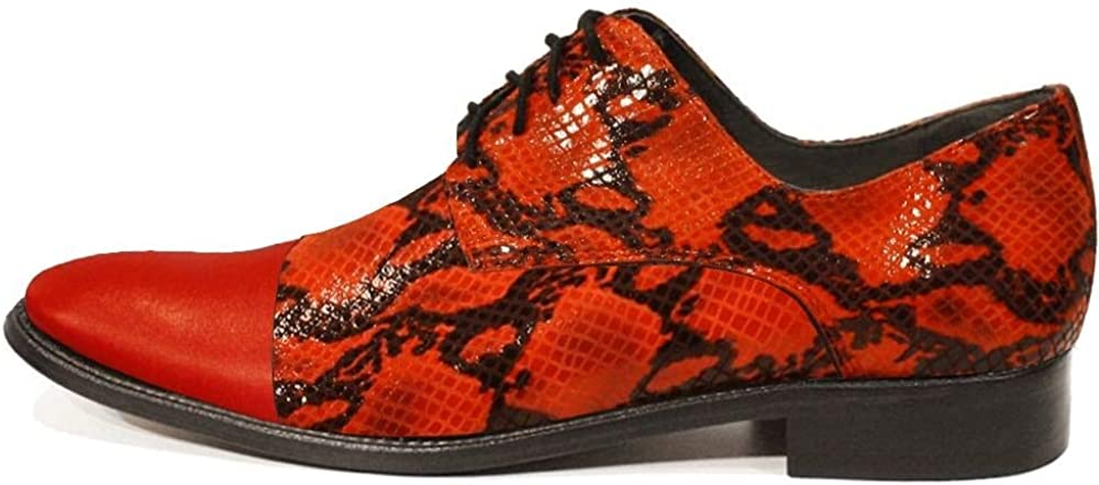 Modello Papello - Handmade Italian Mens Color Red Oxfords Dress Shoes - Cowhide Smooth Leather - Lace-Up