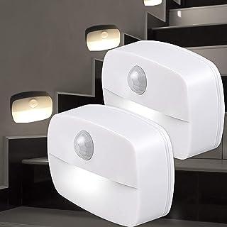 Veilleuse LED, [Lot de 2] lumières à détecteur de mouvement PIR à allumage automatique, applique murale, lumières de placa...