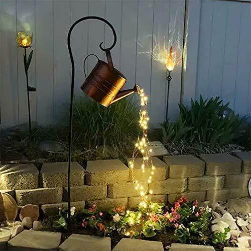 KPNG Wasserfall Form Twinkle Lichterketten,Garten Gießkanne Lichter,Lichterketten,Stern Typ Dusche Garten Kunst Licht Dekoration Gartenarbeit Rasenlampe im Freien (Mit Halterung)
